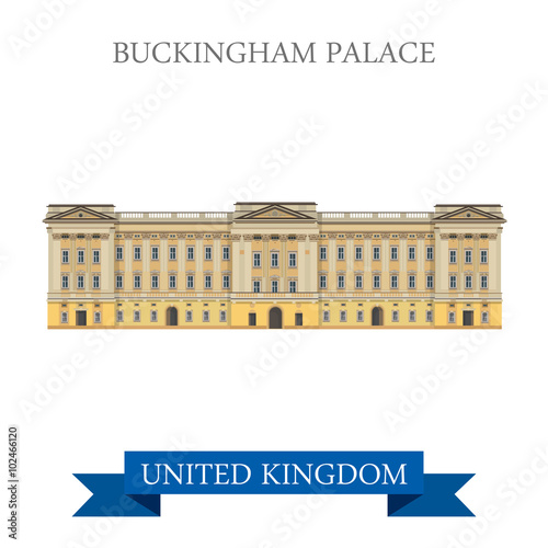 Buckingham Palace London Great Britain United Kingdom vector Wallpaper Mural