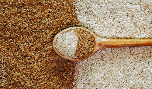 Fotografie, Obraz  Rice? Brown and white rice. Background. Uncooked. Raw. Food conc