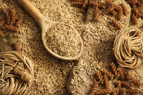 Fotografie, Obraz  Rice, noodles, pasta - health food / healthy diet background.