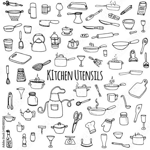 Hand drawn doodle Kitchen utensils set Vector illustration Sketchy kitchen ware Canvas Print