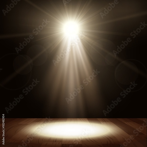 Foto op Canvas Licht, schaduw Spotlight in show performance with wood floor
