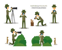Nature And Wildlife Photographer With Camera In Action Set, Photography, Techniques, Man Taking Photos