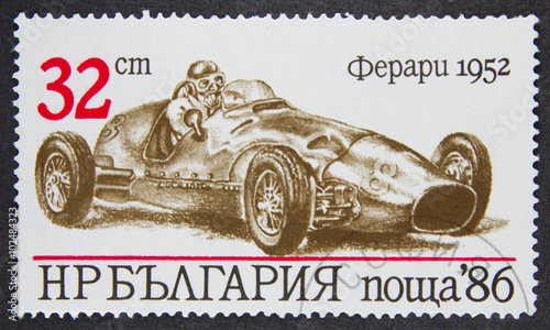 Fotomural A stamp printed in Bulgaria, shows 1952 Ferrari in Sports Cars series, 1986