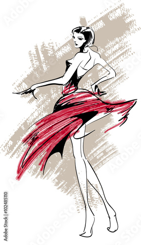 sylwetka-dziewczyny-w-czerwonej-sukience-ilustracja