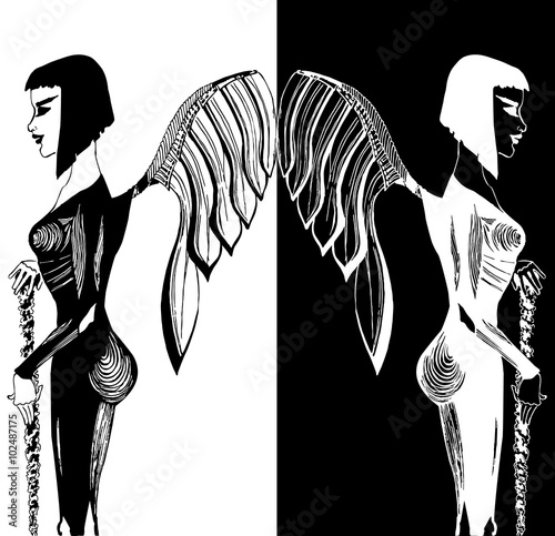 Illustration of beatiful dark angel Canvas Print