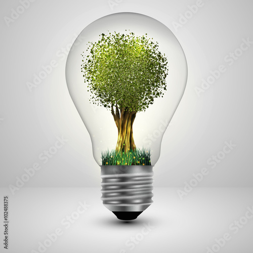 Obraz Tree in a light bulb ecology concept, Vector illustration. - fototapety do salonu