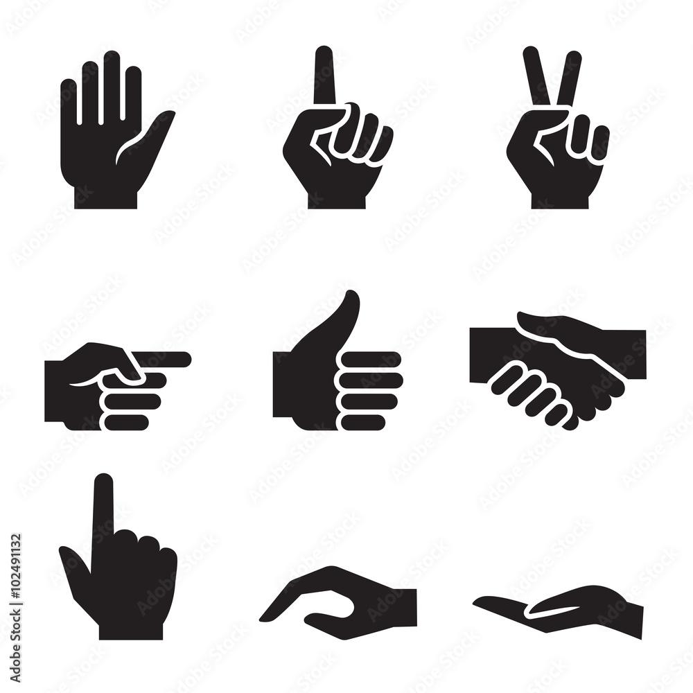 Fototapeta human hand symbol icon set