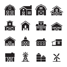 Barn & Farm Building Icon Set
