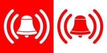 Icono Plano Campana De Alarma En Rojo Y Blanco