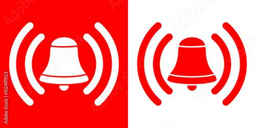 Icono plano campana de alarma en rojo y blanco Canvas Print