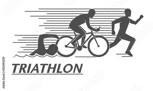 Black flat logo triathlon. Vector figures triathletes. Canvas Print