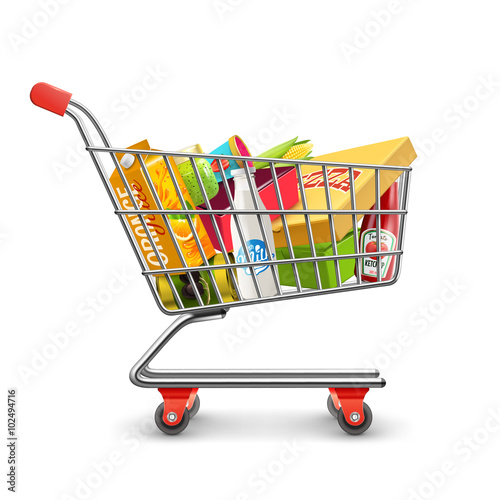 Fotografía  Shopping Supermarket Cart With Grocery Pictogram