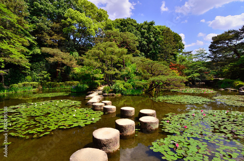 Stone path in Japanese garden, Heian shrine Kyoto Japan.