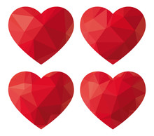 Red Heart Low Polygon. Vector Illustration
