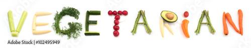 Papiers peints Légumes frais word vegetarian made of vegetables on white background