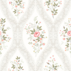 Fototapetaseamless floral pattern with lace and floral bouquet