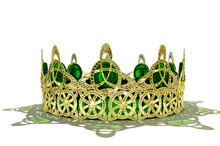 Celtic Crown - Isolated A Gold Crown Made Of Irish Knot Work And Set With Emeralds. Isolated On White. Original Design By The Artist.