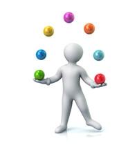 Cartoon Man Juggles With A Balls