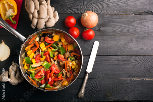 Vegetables stir fry Wallpaper Mural