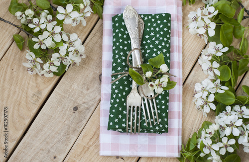 Valokuva  Two forks on rustic wooden background and branches with flowers