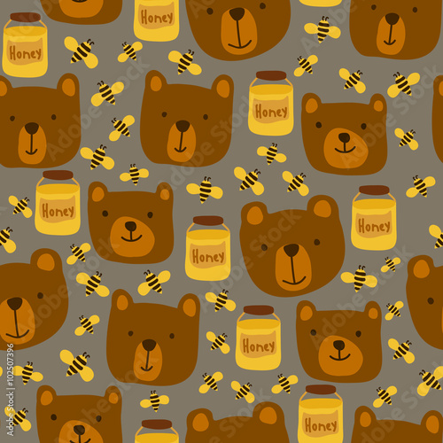 Cotton fabric Seamless pattern with bears, bees and honey