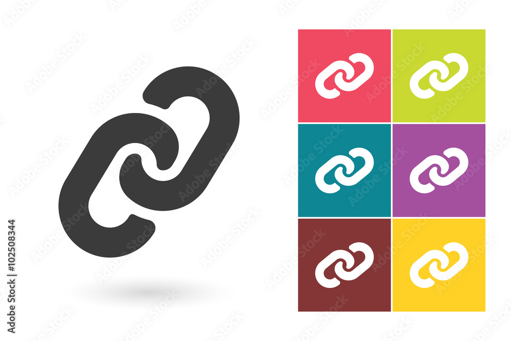 Fototapeta Link vector icon or link symbol. Chain pictogram for logo with link symbol or label with chain icon