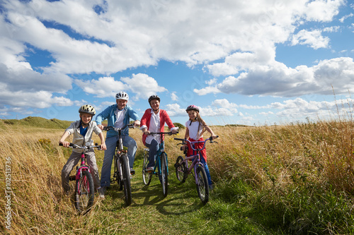 Aluminium Prints Cycling Portrait Of Family Cycling Through Countryside Together