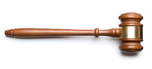 Wooden Gavel Isolated On White...