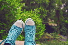 Legs In Trendy Shoes Outside
