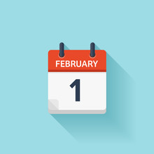 February 1. Vector Flat Daily Calendar Icon. Date And Time, Day, Month. Holiday.