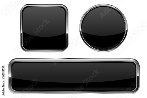 Buttons  Black shiny glass sphere and square button with
