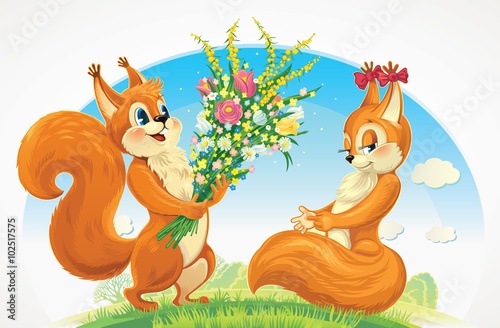 Poster de jardin Zoo Squirrel character - a boy, give flowers a squirrel character - a girl. Congratulations to her for the holiday.