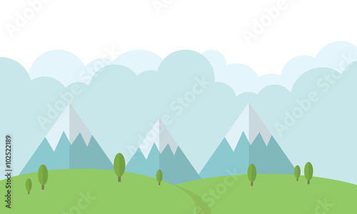 Photo Stands Light blue Flat Forest Landscape Mountain Background illustration