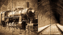 Artistic Vintage Train Collage