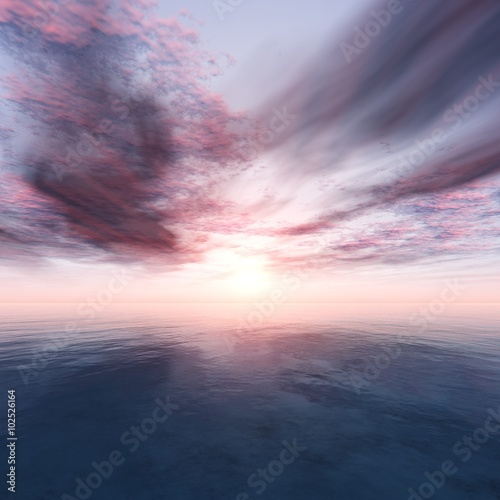 Poster Rose clair / pale light over the ocean, sunset over the sea, ocean sunrise