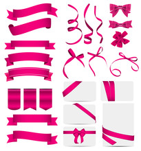 Pink Ribbon And Bow Set. Vector Illustration