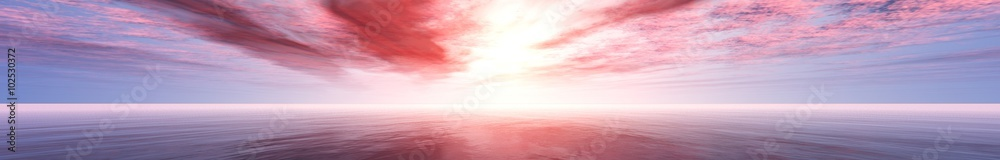 Fototapety, obrazy: panorama of sea sunset, the view of the ocean sunrise, sunset at sea, tropical sunset.