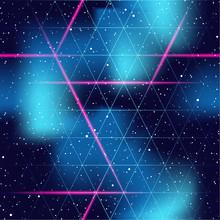 Retrofuturistic Seamless Space Background