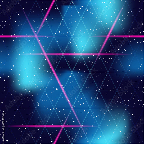 Plakát  retrofuturistic seamless space background
