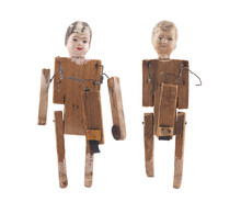 Vintage Wooden Dolls Isolated On White Background With Clipping Path
