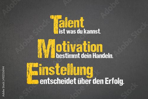 Talent, Motivation, Einstellung плакат