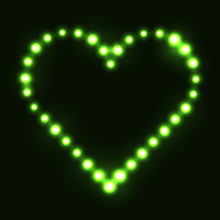 Original Heart Made From Green Dots / Pearls/ Bulbs