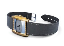 Wrist Watch With Black Strap On A White Background. 3d Rendering