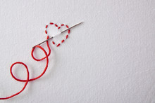 Embroidered Red Heart On A Whi...