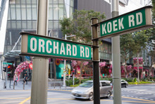 Street Signs Orchard Road And Koek Road In Singapore