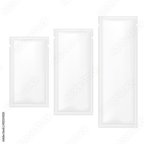 Photo  VECTOR PACKAGING: White gray SET of sachet foil packet on isolated white background