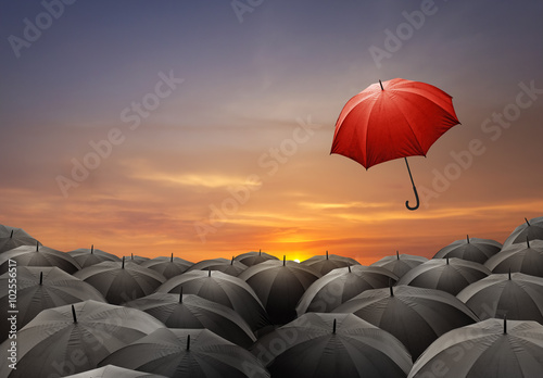 Obraz Red umbrella fly out from crowds of black umbrellas - fototapety do salonu