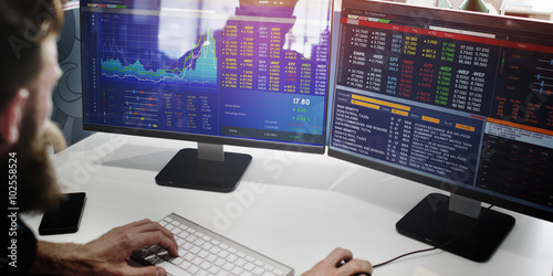 Businessman Working Finance Trading Stock Concept Canvas-taulu