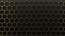 Gold Hexagonal Grid On Black