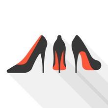 Vector Woman High Heels With Long Shadow, Flat Design